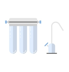 Water filter flat color icon and object vector