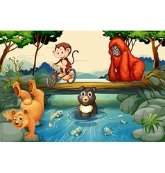 Animals by the river vector