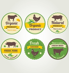 Badges beef chicken and pork organic product vector image