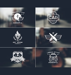 Car service badges and logo on blurred backgrounds vector