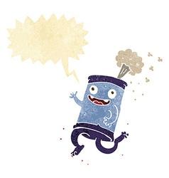 Cartoon crazy soda can with speech bubble vector