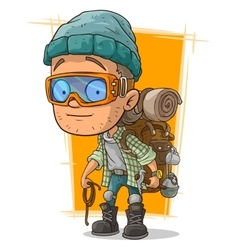 Cartoon man in eyeglasses with backpack vector image