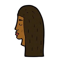 Comic cartoon female face profile vector