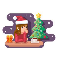 Cute girl wating for new year chrismas tree santa vector