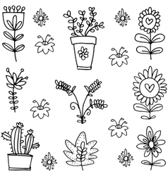 Doodle of spring with flower style vector