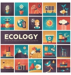 Ecology - modern flat design isquare icons vector