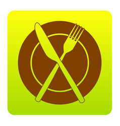 fork knife and plate sign brown icon at vector image