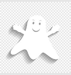 ghost sign white icon with soft shadow on vector image vector image