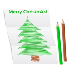 hand drawn christmas tree on a folded paper vector image vector image