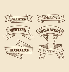 Hand drawn western ribbons vintage design vector