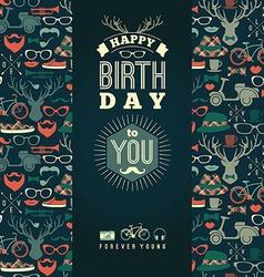 Happy birthday congratulations vintage retro vector