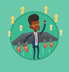 Happy businessman flying on the rocket to success vector