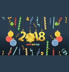 Happy new year 2018 confetti and gold clock vector