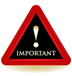 Important Black Sign vector image