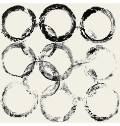 ink grunge circles frame vector image