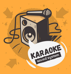 Karaoke sound system music design with a speake vector