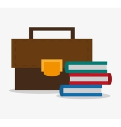 Office suitcase with books design vector