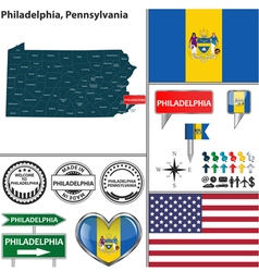 Philadelphia Pennsylvania set vector image