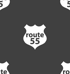 Route 55 highway icon sign seamless pattern on a vector