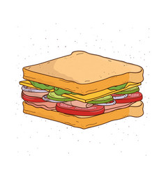 Sandwich with cheese tomato ham and salad vector