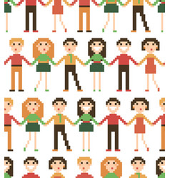 seamless pattern with pixel people vector image vector image