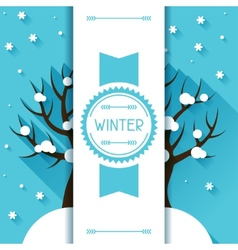 Seasonal with winter tree in flat vector