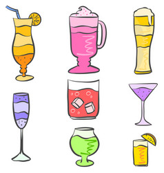 Set drink various hand draw vector