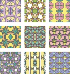 Set of multicolored abstract ornament seamless pat vector