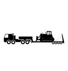 Silhouette of the tractor on the trawl vector