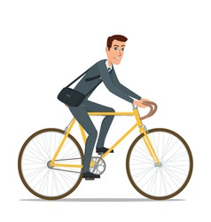 Simple cartoon of businessman riding a bicycle vector