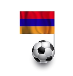 Soccer balls or footballs with flag of armenia vector