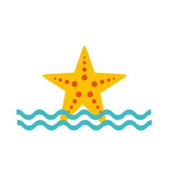 starfish sea life with waves vector image