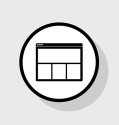 Web window sign flat black icon in white vector