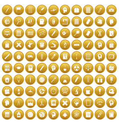 100 learning icons set gold vector