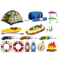 Camping set with tent and other equipment vector image