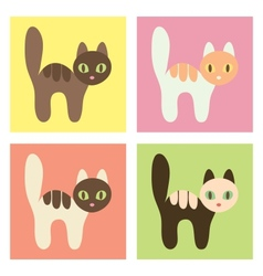 Multicolored cats on the different backgrounds vector image