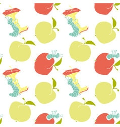 Cute apple worm and red apple fun concept eco vector