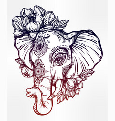decorative elephant with tribal ornament flowers vector image