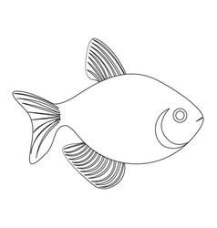 Silhouette fish aquatic animal icon flat vector