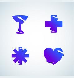 Medicine symbols negative space snake abstract vector