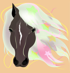 muzzle of a horse with a white mane vector image