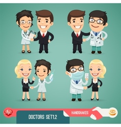 Doctors cartoon characters set12 vector