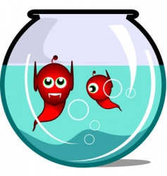 Illustration of vampires in aquarium vector