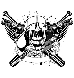 Skull in cap knifes bats and two pistols vector