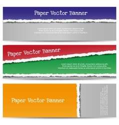 Torn color paper banners vector