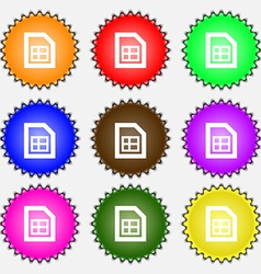 File document icon sign a set of nine different vector