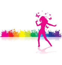 Dancing girl rainbow vector