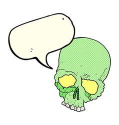 Cartoon spooky old skull with speech bubble vector