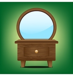 Wooden mirror cabinet vector