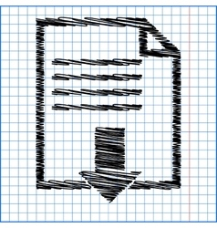 File download icon with pen effect on paper vector